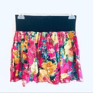 Tropical floral print Hawaiian mini skirt L